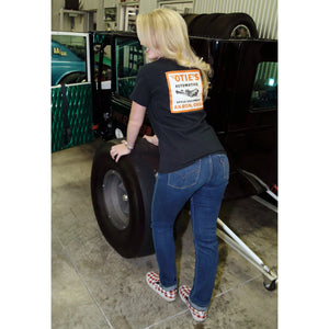 Cassandra Hicks in Otie's Automotive Black Decal T-shirt, pin up girl