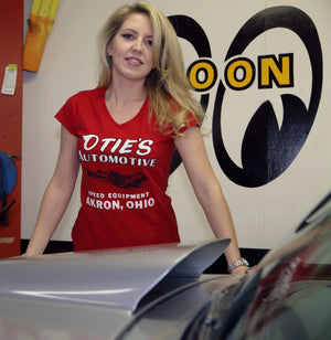 Cassandra Hicks in Ladies Otie's Automotive V-neck T-shirt, Pin up girl