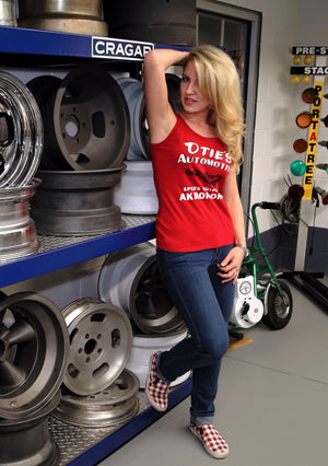 Cassandra Hicks in Ladies Otie's Automotive Tank Top, Pin up girl