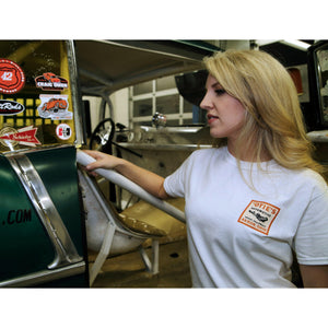 Cassandra Hicks in Otie's Automotive White Decal T-shirt, pin up girl