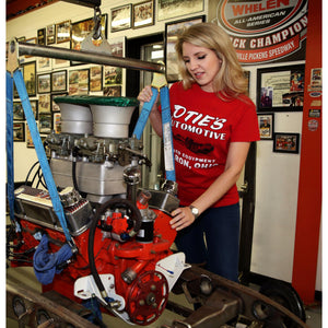 Cassandra Hicks in Otie's Automotive Men's Red Dragster T-shirt, Pin up girl