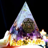 Orgonite & Amethyst Sahasrara Chakra Crystal Pyramid - 7 Size Options