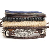 Handmade 3 or 4 Piece Multilayer Bead & Leather Bracelet Sets