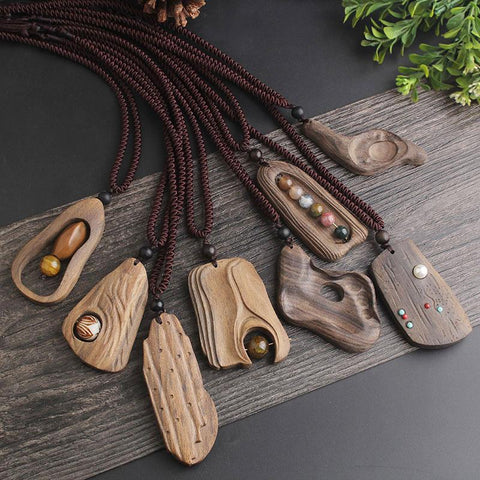 Sandalwood & Natural Stone Vintage Pendant Necklace  - 26 Variations