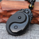Black Obsidian Carved Pendant Necklace