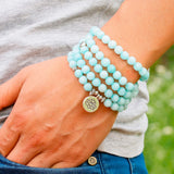 108 Natural Stone Blue Chalcedony Meditation Mala Beads with Charm