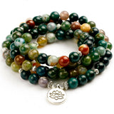108 Natural India Onyx Stone Meditation Mala Beads with Charm