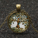 Glass Tree Of Life Pendant Necklace with Vintage Bronze Chain