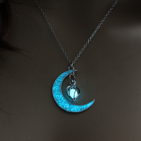 Silver Plated Glowing Moon Gem Necklace - 3 Color Options
