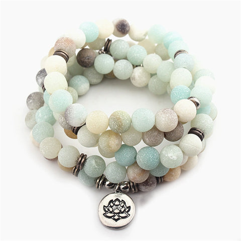 108 Bead Matte Amazonite Tibetan Prayer Bracelet with Lotus Charm