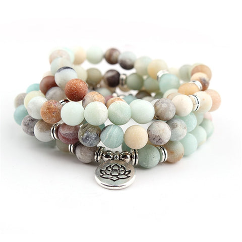 108 Bead Matte Amazonite Buddha Prayer Mala with Lotus Charm