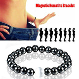 Hematite Stone Magnetic Weight Loss Therapy Bracelet with Pearlized Guru Bead