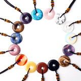 Donut Shape Cut Crystal With Rope Pendant Necklace