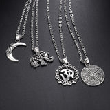 Multi Layer Bohemia Buddhism Silver Chain Necklace