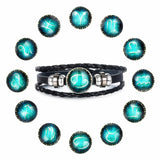 Constellation Button Multiple Layer Leather Love Bracelets - 12 Variations