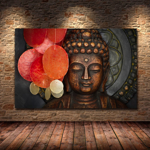Vivid Bronze Buddha Face Wall Art Painting On Canvas