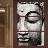 3 Panel Modern Grey Buddha Oil Style Painting Print