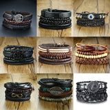 4Pcs / Set Braided Wrap Leather & Bead Bracelets - 11 Style Options