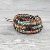 Natural Stone Woven Yoga Beaded Bracelet with Heart Pendant
