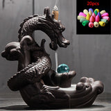 Dragon Ceramic Backflow Incense Burner with 20 Piece Incense Pack
