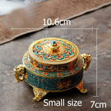 Tibetan Style Painted Enamel Zinc Alloy Coil Incense Burner