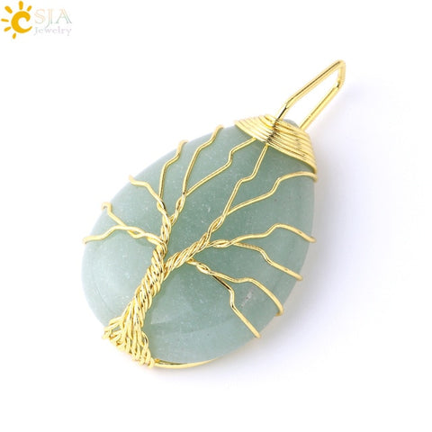 CSJA Tree of Life Necklace Natural Stone Pendant Gold Color Wire Wrap Gem Pink Quartz Tiger Eye Green Aventurine Suspension E585