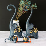 Abstract Elephant Family Statue Sculpture