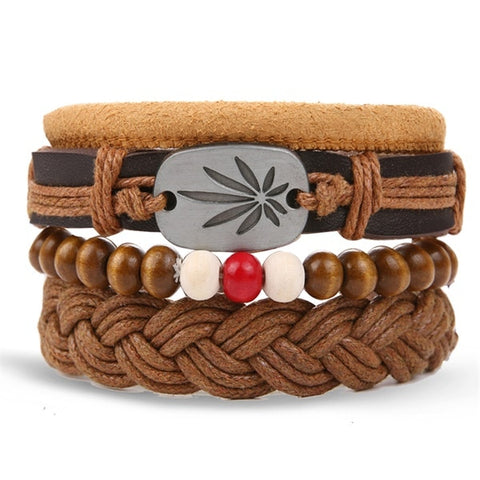 5 and 5 Piece Leather Wristbands with Leaf Charm