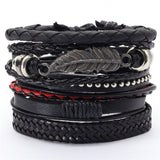 5 Piece Black Leather Wristbands with Yin Yang Symbol
