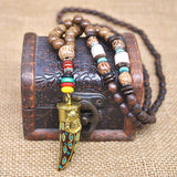 Handmade Wooden Bed Nepal Buddhist Necklace