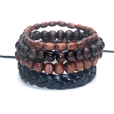 4 Piece Bamboo Wood beaded Wrap-Around Bracelet - 4 Color Options