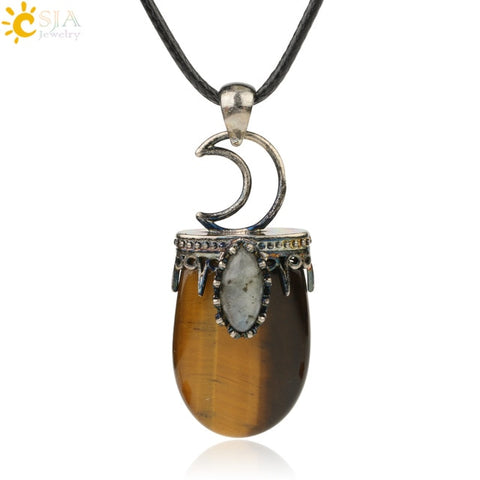 Natural Stone Crystal Moon Pendant Necklace -14 Stone Options