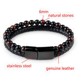 Natural Stone & Genuine Leather Bracelet with Stainless Steel Magnetic Clasp