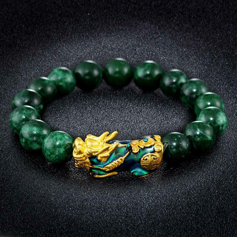 Stone Beads Bracelet with Chinese Feng Shui Gold Wealth Dragon Guru Bead - 3 Stone Colors & Sizes