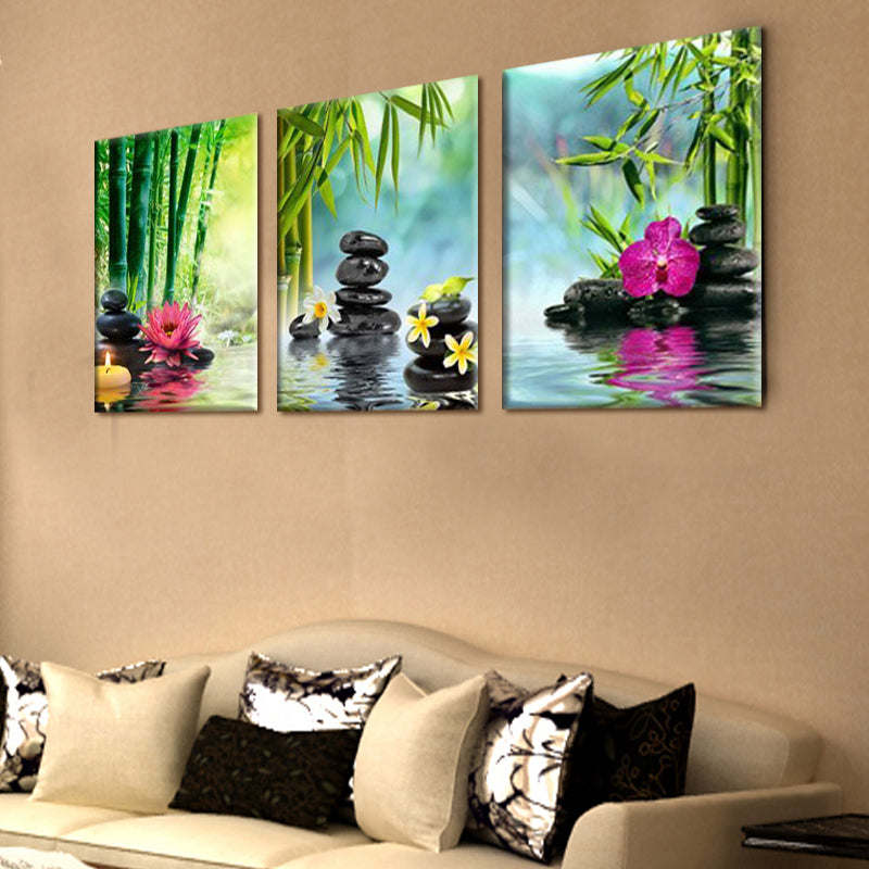 3 Panel Stone, Green Bamboo, Pink Lotus Flower Painting on Canvas ...