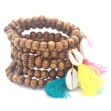 Wooden Bead Beach Bracelets with Shell & Colorful Tassel - 6 Tassel Options