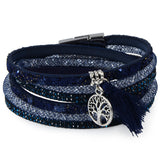 Multilayer Rhinestone Feather Leather Bracelet with Magnetic Clasp - 13 Color Options