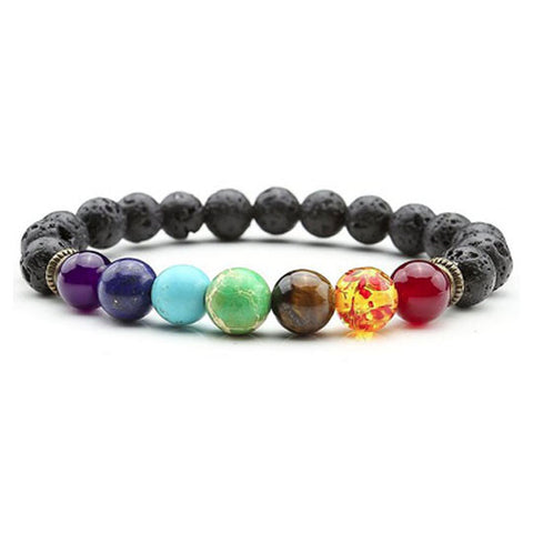 7 Chakra with Beaded Black Lava Rocks Healing & Balancing Bracelet - 8mm