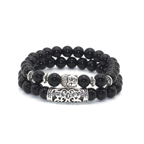 2 Piece Antique Silver Plated Buddha Head Combo Beaded Bracelets - 4 Color Options