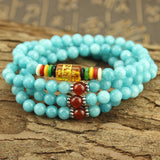 Turquoise Blue Amazonite Chakra Natural Stone Energy Bracelet - 108 Bead