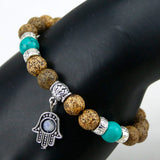 New Energy Stone Onyx Bracelet with Eye Palm Charm