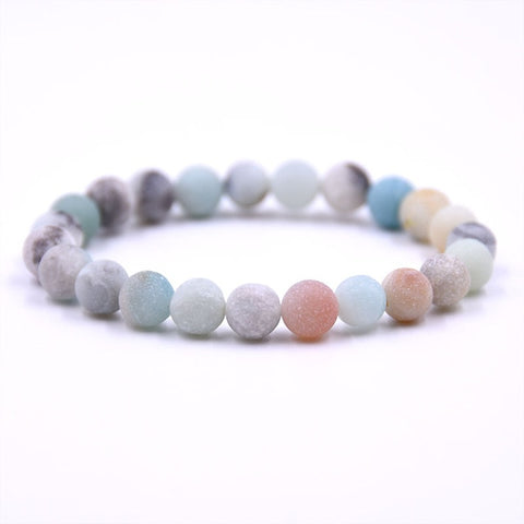 Earthy and Pastel Natural Stone Beaded Bracelet - 8MM or 10MM