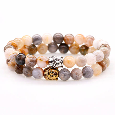 Natural Coffee Stone Buddha Head Prayer Bracelets  - 2 Color Options