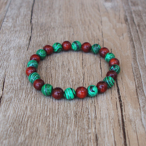 Handmade Tibetan Buddhist Bracelet with Wood & Stone Beads
