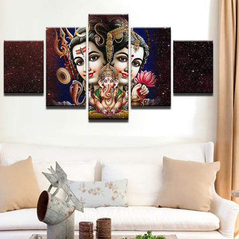 5 Piece HD Shiva Parvati Ganesh Frame Painting - 8 Size Options