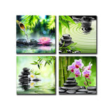 4 Panels Purple Flowers Candle Print on Canvas Wall Art - 5 Size Options