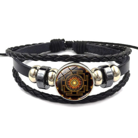 Vintage Handmade Leather Sri Yantra Bracelet