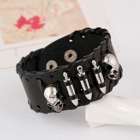 Steampunk Leather Woven Wide Cowhide Bracelet with Metal Bullet, Skull & Rivets