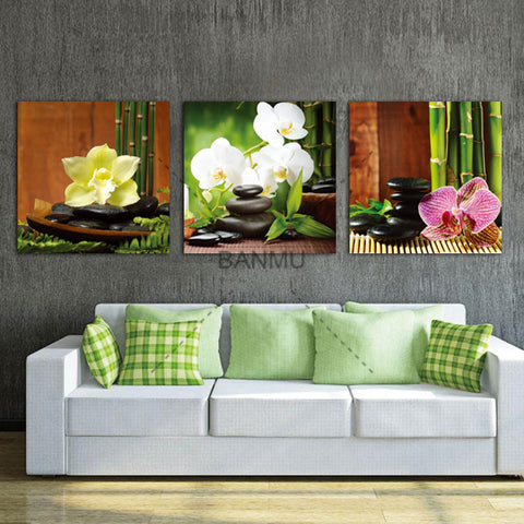 3 Panel Modern Paintings on Canvas Zen Wall Art