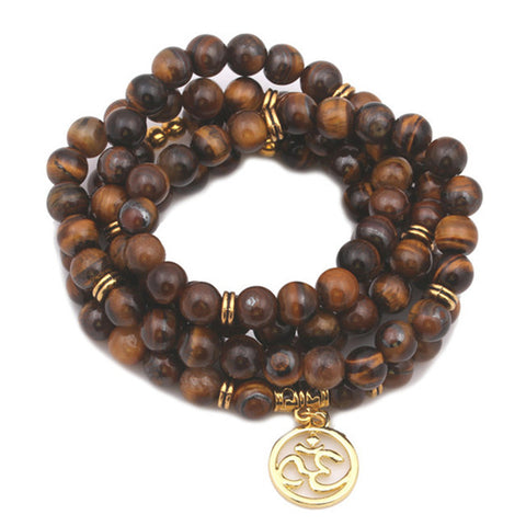 Tiger Eye Yoga Multilayer Mala Beads with OM Charm - 108 Beads